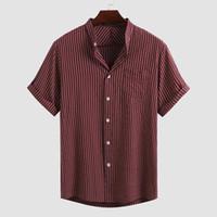 Мужские повседневные рубашки Мужчины полосатый с коротким рукавом стойки воротник Blusas хлопковые дышащие кнопки Camisa летом Harajuku Blouse incerun 5xl7