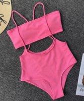 المرأة مثير ملابس السباحة الصلبة حمالة ملابس اثنين من قطعة ثوب السباحة عالية الخصر ضمادة بيكيني للبنات