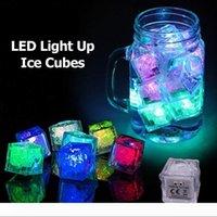 Sensor de líquido del cubo de hielo de luz LED parpadeante sumergible multi-resplandor del color de iluminación de fiesta para beber vino de la boda decoración de la barra