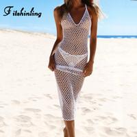 Fitshinling Backless plage crochet à la main robe longue robes maxi à Boho creux de l'été femme d'été pour femmes paréos