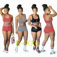 النساء رياضية السراويل تتسابق مصمم الشريط أكمام البرازيلي صهريج الصدرية المحاصيل سروال أعلى + شورت امرأة 2 قطعة مجموعات الملابس D72703