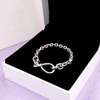 YENI Pandroa Zincir Bilezik Ile Tıknaz Kadın Kız Orijinal Hediye Düğüm Kutusu Takı için Gümüş Gümüş Bilezikler El Infinity 925 EFXHI