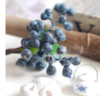 웨딩 파티 홈 장식 인공 식물에 대한 10PCS / 팩 장식 과일 블루 베리 인공 꽃 실크 꽃 과일