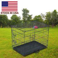 Fester Metallklapper-Trägerkäfig für Haustiere doppelter Türkatze-Hund mit Trennwand- und Kunststoff-Fach Black (PTCG01-24)