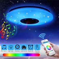36 W RGB Gömme Dağı Yuvarlak Starlight Müzik Bluetooth Hoparlör ile LED Tavan Işık Lambası, Kısılabilir Renk Değiştirme Işık Fikstürü
