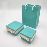Süper Kalite Moda Takı Kutuları Charms Salkım Küpe Gümüş yüzükler Orijinal Mavi Kutu Kadın Hediye Torba Set Paketleme