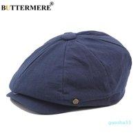 luxo- Cotton Newsboy Cap Homens Mulheres octogonal Hat Navy Sólidos Primavera jornal Vintage Caps 2019 New coreano Pintores Beret Y19052004