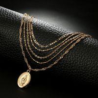 الأزياء بوذا قلادة القلائد للنساء حزب سبيكة متعدد الطبقات أمريكا الجنوبية 18 كيلو مطلية بالذهب رابط سلسلة الشاطئ قلادة مجوهرات صديقة عيد الحب هدية