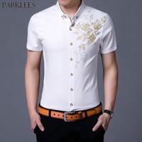 Uomo oro rosa stampa del vestito bianco camice 2020 di marca Slim Fit manica corta Chemise Homme camicia casuale festa di nozze per il maschio 3XL