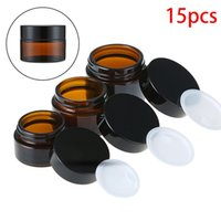 15pcs x Empty 5g-50g Amber Glass Jars Containers Cosmetic Cream Lotion Brown Bottles Makeup Pots Travel Container