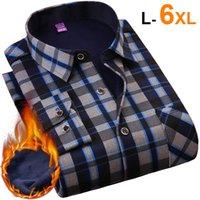 NIGRITY Herbst-Winter-Männer lange Hülsen-Plaid-warme starke Fleece-Futter Hemd Art und Weise weiche beiläufige Flanellhemd plus Big Size L-6XL CX200801