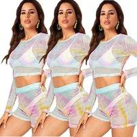 الملابس 2020 المرأة الجديدة الصين رخيصة بالجملة الأوروبي وقطعة امرأتين الأمريكية تحدد صيف جديد مثير شبكة التعادل صبغ اثنين من قطعة بدلة