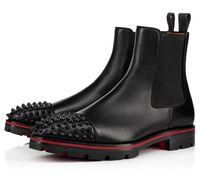 Botas de moda !! Melão Spikes Homens Botas Vermelhas Botas Calfskin Couro Preto, Brown Designer Lug Sole Bota dos homens Bota de Motocicleta Bota