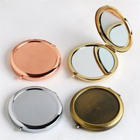 Folding Hand Spiegel Runde Makeup Foundation Kompakt-Spiegel-Edelstahl-Doppelt-Seiten Lookingmetall Kosmetik Dekorative 4 3JY C2