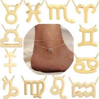 Constellation Anklets Zodiac Sign signe horoscope pendentif bijoux astrologie cadeau d'anniversaire avec carte de message pour les femmes, tendance tout match pour g