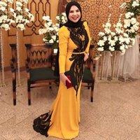 빈티지 블랙 아플리케 인어 무슬림 이브닝 드레스 높은 목 긴 소매 두바이 아랍어 사우디 아라비아 Vestidos 드 축제 댄스 파티 드레스