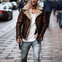 Men's Fur & Faux Men Winter Imitation Leather Jacket Biker Motorcycle Zipper Long Sleeve Coat Top S-XL1