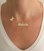 Персонализированные Пользовательские Имя Ожерелье для женщин Nameplate ювелирные изделия из нержавеющей стали длинное ожерелье бабочки крест сердце короны кулон CX200725