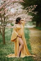 Nueva manga larga de maternidad hermoso vestido de ropa de las mujeres embarazadas Embarazo Fotografía de vestir vestidos de maternidad para la sesión fotográfica del