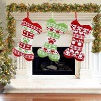 Natal animal de estimação meia de malha decoração de Natal meias peúgas meias de lã jacquard xmas saco de presente atacado