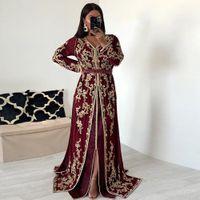 Fas Kaftan Abiye Boncuk El Çalışma Müslüman bordo altın detay Arapça Abaya balo elbise elbise de soiree