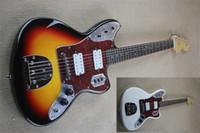 frete grátis fen guitarra jaguar, guitarra branca sunburst, 22 traste, captadores HH, corpo basswood, cromo hradware, tremolo, pau-rosa fretboard