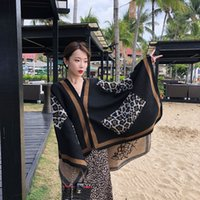 HgT6e Leopard print ethnic style shawl autumn and winter scarf women's thickened cashmere warm oversized cloak outer blanket Warm nation Sca