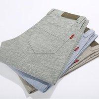 Al por mayor-Hombres de lino de algodón de moda corredores pantalones de los hombres pantalones casuales hombres delgados primavera otoño pantalones ropa pantalon homme1