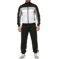 상의는 바지와 정장 남성 캐주얼 남성 가을 접합 지퍼 운동복 최고 바지를 인쇄 땀을 흘리는 것은 스포츠 정장 운동복을 설정합니다