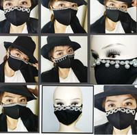 adulto bocca nera maschera moda Maschera resuable Sparkly Perle Strass Bling maschere per il viso in cotone LJJK2411