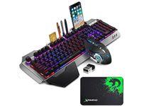 Teclado de jogos sem fio e mouse com RGB Backlit Recarregável Painel de Metal Mecânica Teclado e Gaming Mouse para Gamer Laptop PC