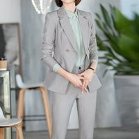 2020 Spring Women Set Notched Full Sleeve Blazers Pencil Pants Suit Office Lady Two Piece Set Tracksuits Casual Outfits