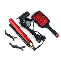عالية الجودة PLATINUM بالإضافة إلى شعر مستقيم يحدد الحديد المهنية شقة فرد الشعر تصفيف الشعر أداة اللون الأسود DHL الشحن