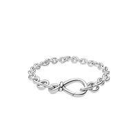 Новый коренастый бесконечный узел цепь браслет женщины девушки подарочные украшения для пандоа 925 стерлинговые серебряные браслеты ручной работы с оригинальной коробкой