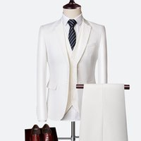 Mens Suit 2020 Business Casual Suits Sets Fashion for Wedding Male Blazers Coat Trouser Waistcoat Jacket Pant Vest Suit Slim Fit