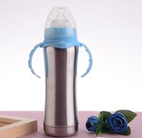 8oz sippy Baby Milk Bottle Stainnless Steel with Handle Port...
