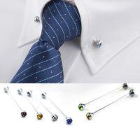 Crystal Tie Barra Hombre Camisa Cuello Pin Pin Corbatas Corbatas Clip Crespe Broche Barbell Lapel Stick Collares Hebilla Drop Ship