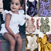 Solid Baby Rompers 6 Colors Ruffle Lace Romper Infant Sleeve...