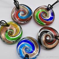 5 stücke Maxi Anhänger Halskette Verkauf echte Colares Femininos Mode Mix 5 Farben Runde Folie Murano Lampwork Glas