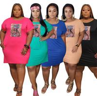 Плюс Размер XL-5XL Женщины Платья Сплошное Цветовое Платье Мода Скинни Юбки с коротким рукавом Мини Юбки Летняя Одежда Повседневная Платье Свободный Корабль 3523