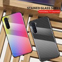 Funda de vidrio de vidrio templado de diseño de la fibra de carbono de gradiente brillante para OnePlus NORD N100 N10 8 PRO 7 PRO 7T 6T 6 5 T