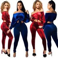 2020 Neu in Europa und Amerika Mode Damen Zwei Stück Sets Zweiteilige Samt Solide Farbe Sexy Anzug