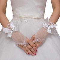 Kvinnor Sheer Tulle Bröllop Kort Fingerless Handskar Satin Bowknot Heart Rhinestone Smycken Ruffles Lace Bridal Formell Party Mitten