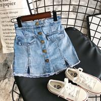 Ins bebê crianças garotas jeans shorts calças denim retalhos fake saia saia verão moda