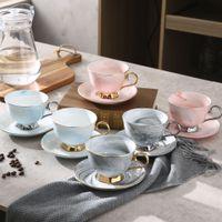 Керамический Afternoon Черный чай чашки и блюдца Bone China Milk Tea Чашка кофе с Tray Фарфор Drinkware Set