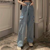 Jeans des femmes Woherb Vintage grand jambe femme taille haute taille bleue pantalon long pantalons longs de rue coréen poches de denim pantalon 25636