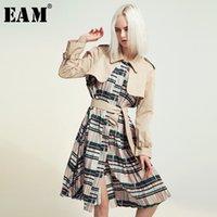 [EAM] المرأة حزام مطوي ضرب اللون خندق جديد التلبيب كم طويل فضفاض صالح سترة واقية الأزياء المد الربيع الخريف 2020 1B096 CX200728
