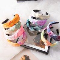 Nouveau Tie Dye main Bandeaux printemps large Hoops cheveux noeud Bandeaux bande élastique fleur cheveux Accessoires Femmes Bandeaux