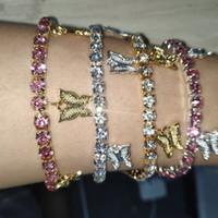 Luxo Borboleta Pulseiras Para Mulheres Ouro Prata Banhado Animal Charme Tênis Gelado Correntes Moda Bling Rhinestone Diamante Jóias Presentes