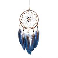Dream Catcher Blue Feather Handwork Ringwork Plume Widget Sztuka Rzemiosła Ręczne Wiszące Wisiorki Dekoracje Ornament Ściany Prezent 11 8xr C2